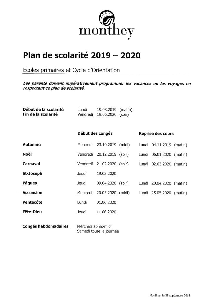 Calendrier Scolaire 20202019 A Imprimer.Ecoles Primaires De Monthey Plan De Scolarite